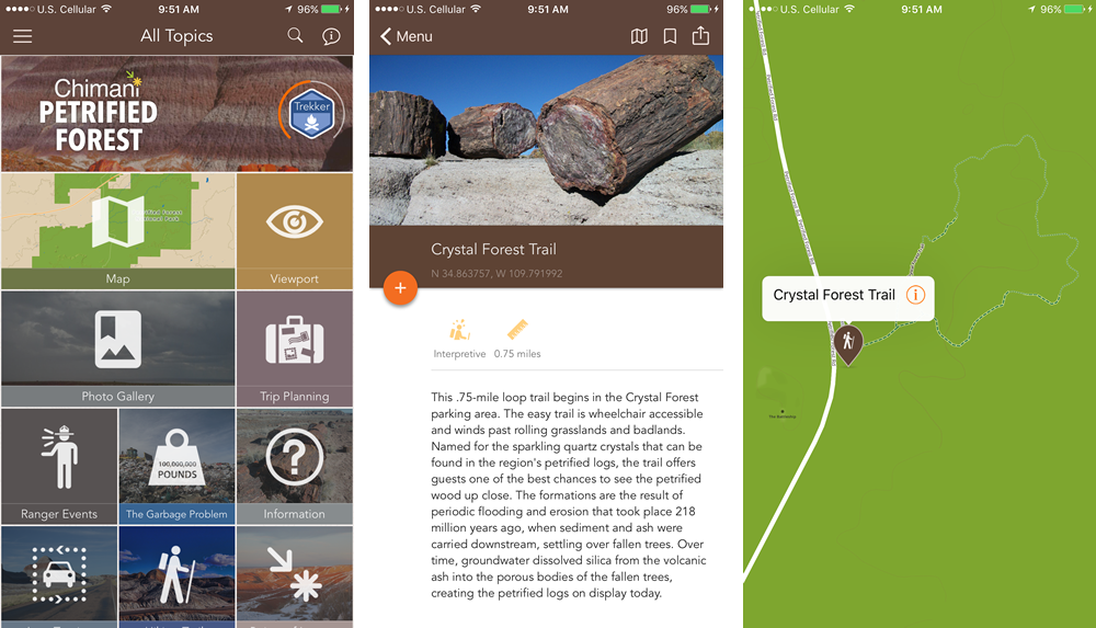 Petrified Forest National Park app by Chimani