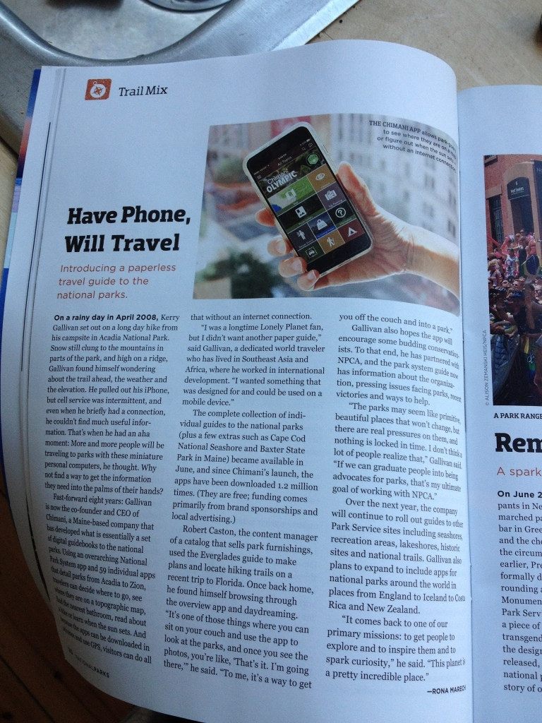 """Have Phone, Will Travel."" Chimani featured in NPCA's National Parks Magazine"