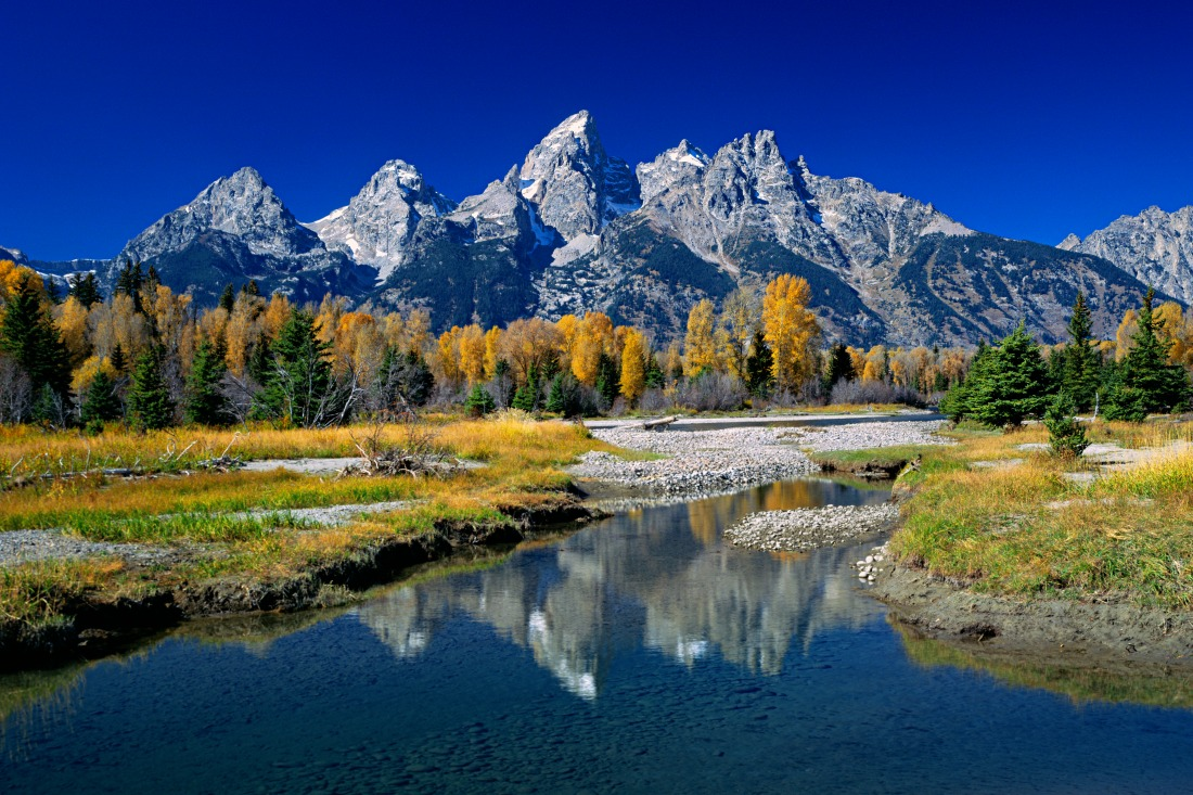 Grand Teton and fall colors reflected at Schwabacher landing. Grand Teton National Park, Wyoming (QT Tuan)