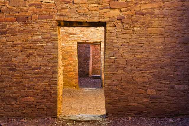 Aligned doorways. Chaco Culture National Historic Park, New Mexico